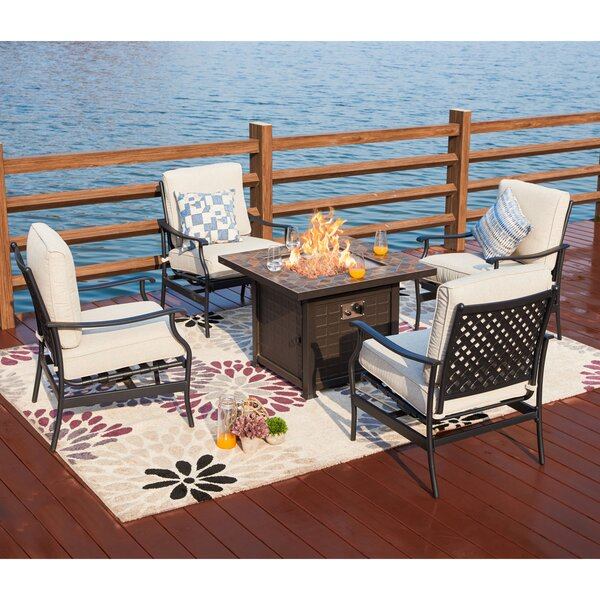 Bomar 5 Piece Multiple Chairs Seating Group with Cushions by Darby Home Co