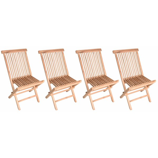 Myla Wood Folding Teak Patio Dining Chair (Set of