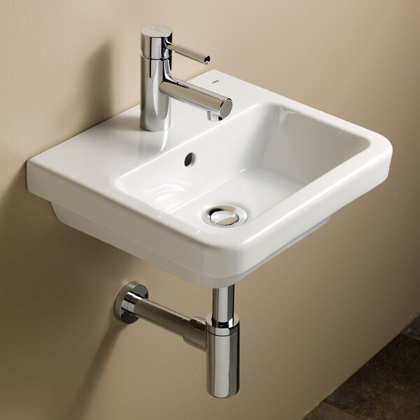 Universal Ceramic 16 Wall Mount Bathroom Sink with Overflow by Bissonnet