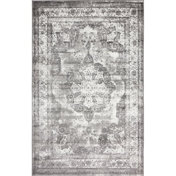 Brandt  Machine Woven Indoor Gray Area Rug by Mist