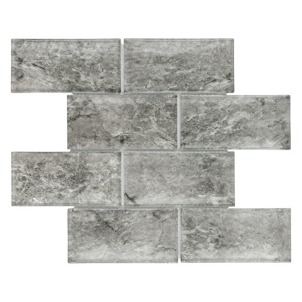 Nieve 2.88 x 5.88 Glass Mosaic Tile in Smoke by EliteTile