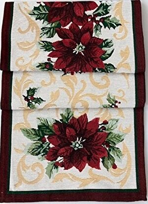 Holiday Tapestry Poinsettia Runner by The Holiday Aisle