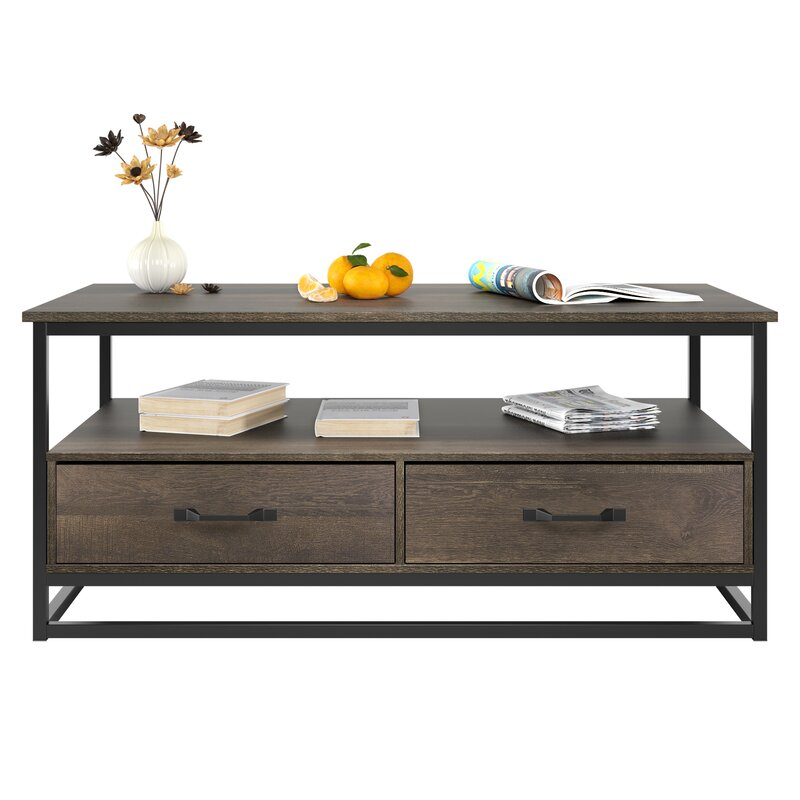 Union Rustic Southside Frame Coffee Table With Storage & Reviews Wayfair