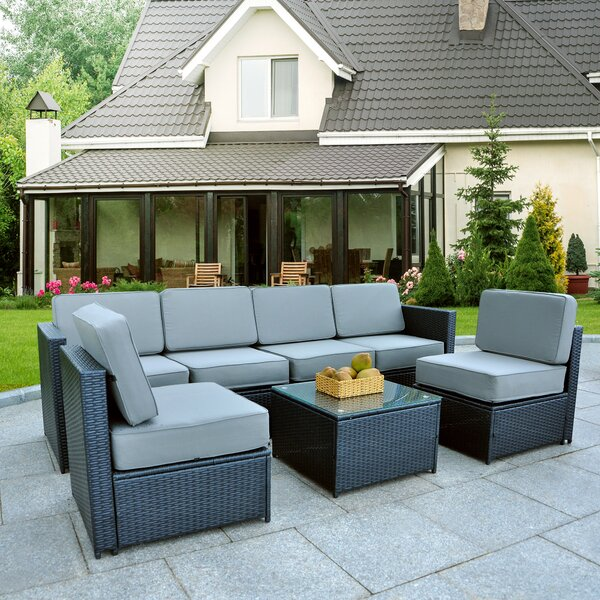 Mickle Cozy Garden Patio 7 Piece Rattan Sectional Seating Group with Cushions by Latitude Run