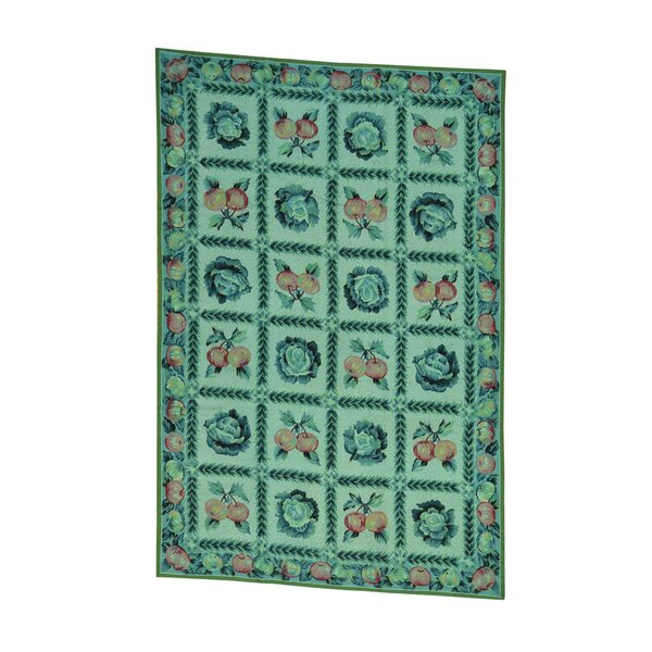 One-of-a-Kind Morello Overdyed Needlepoint with Fruits Hand-Knotted Green Area Rug by August Grove