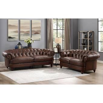 Darby Home Co Drexler 2 Piece Leather Living Room Set Wayfair