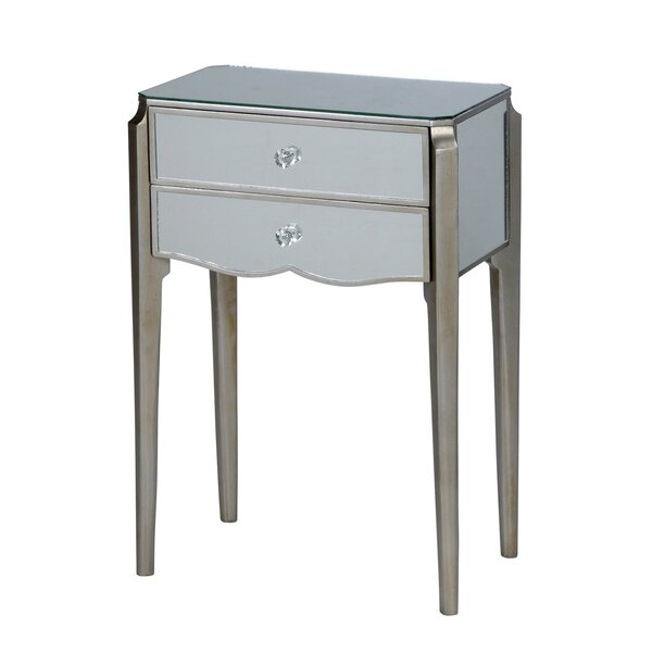 Monteleone 2 Drawer Mirrored Wood End Table with Storage by House of Hampton