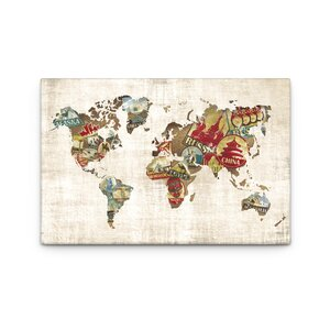 Well Traveled World Map by Dorothea Taylor Graphic Art on Canvas by Artefx Decor