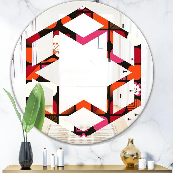 Hexagon Star Geometric Flower Design I Eclectic Frameless Wall Mirror