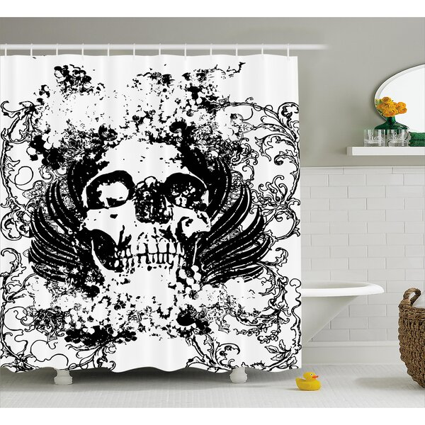 Skull Wave Shower Curtain by East Urban Home