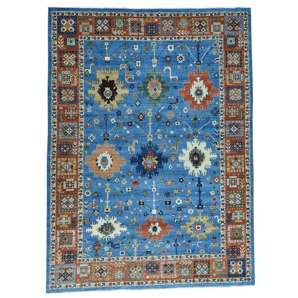 One-of-a-Kind Lavinia Peshawar Hand-Knotted Denim Blue Area Rug by Canora Grey