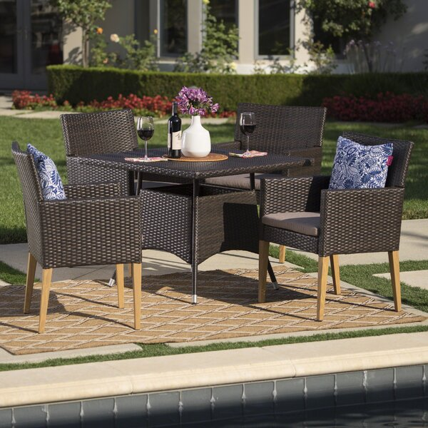 Bo Outdoor Wicker Square 5 Piece Dining Set with Cushions by Mistana
