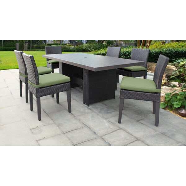 Barbados 7 Piece Outdoor Patio Dining Set with Cushions by TK Classics
