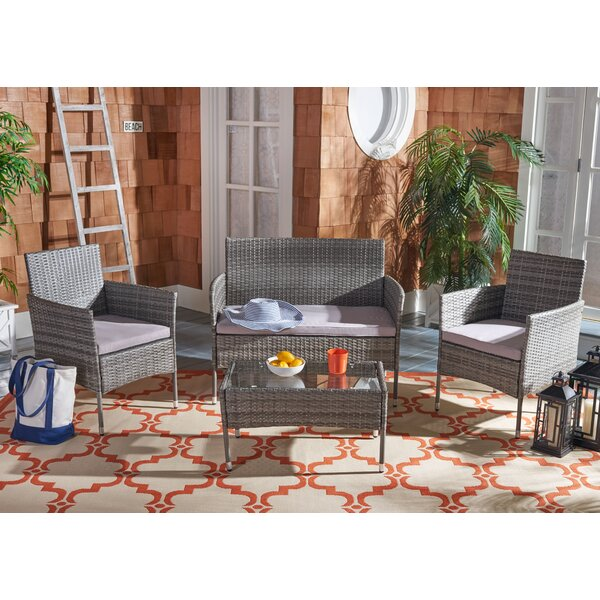 4 Piece Rattan Complete Patio Set with Cushion by Latitude Run Latitude Run