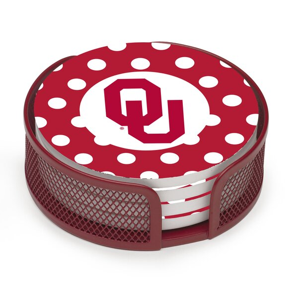 5 Piece University of Oklahoma Dots Collegiate Coaster Gift Set by Thirstystone