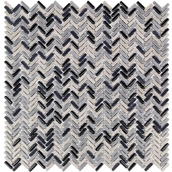 Recoup 12 x 12 Glass Mosaic Tile in Gray/Black by Splashback Tile