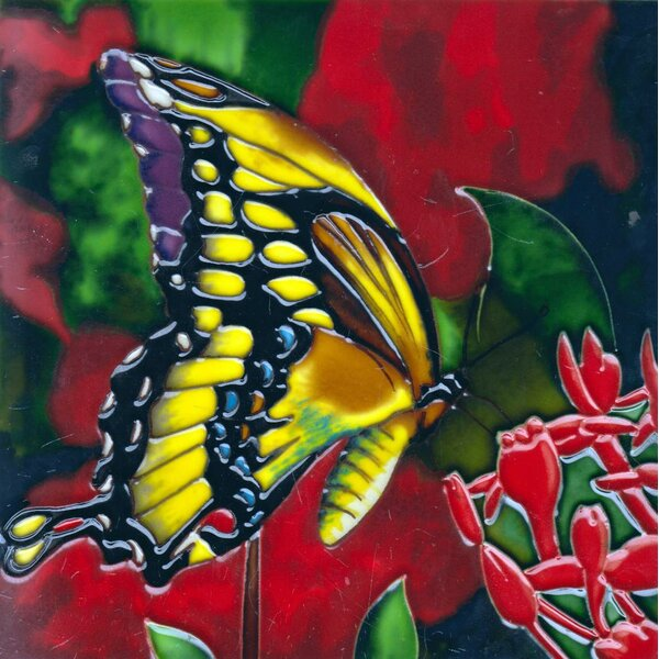 8 x 8 Ceramic Butterfly Decorative Mural Tile by C