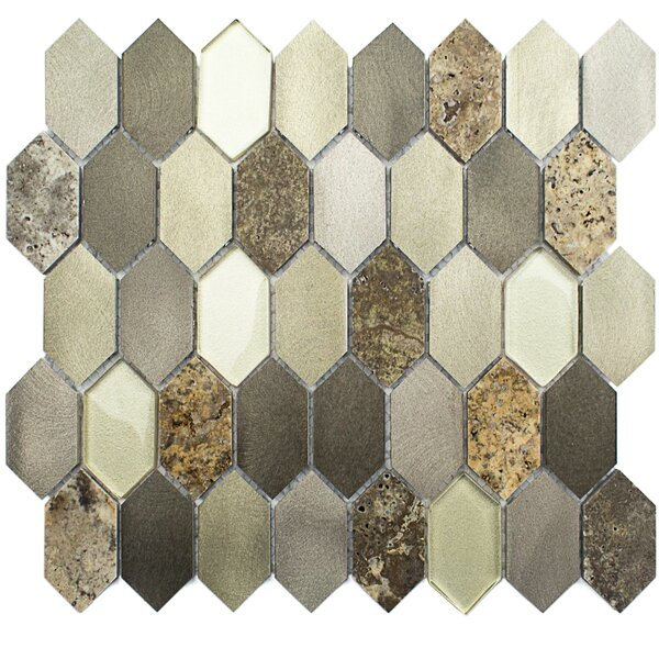 Fortis 1.43 x 2.75 Metal/Marble/Glass Mosaic Tile in Brushed Polished Gold/Tan by Splashback Tile