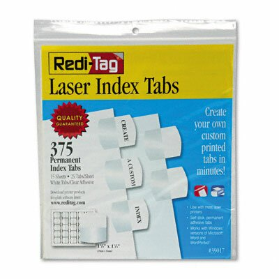 Laser Printable Index Tab, 1 1/8 X 1 1/4, 375/Pack by Redi-Tag Corporation