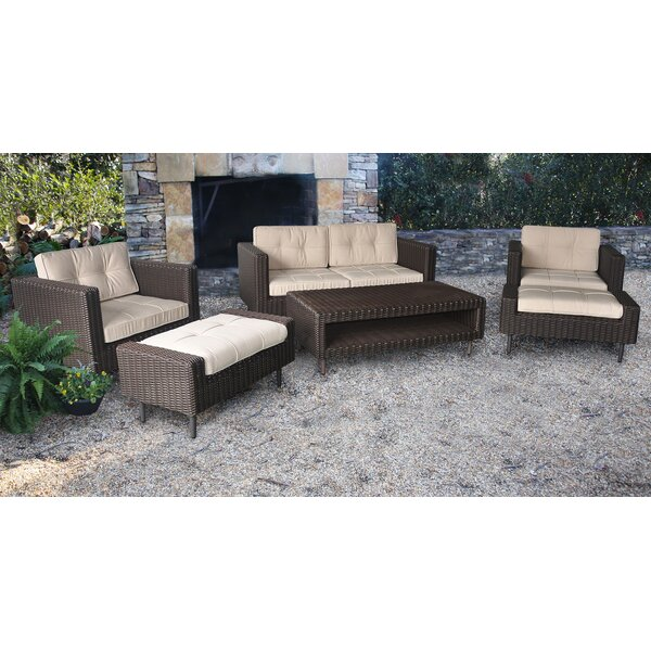 Borealis 6 Piece Rattan Sofa Seating Group with Sunbrella Cushions by Wrought Studio