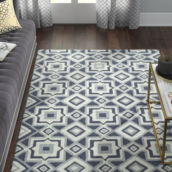 Anwen Hand-Hooked Charcoal Area Rug by Willa Arlo Interiors