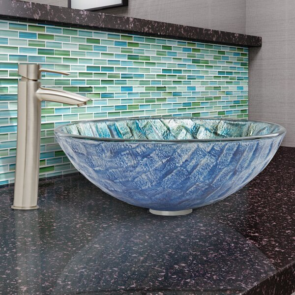 Oceania Glass Circular Vessel Bathroom Sink with Faucet by VIGO