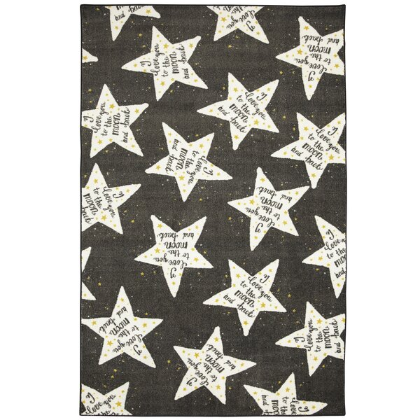 Engler to the Moon Black/White Area Rug by Zoomie Kids