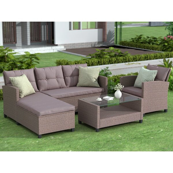 Muse 4 Piece Rattan Sectional Seating Group with Cushions by Latitude Run