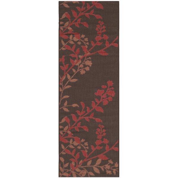 Laurel Chocolate / Red Indoor/Outdoor Rug by August Grove