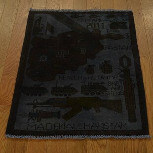 Read Reviews One-of-a-Kind Flory Overdyed War Hand-Knotted 2' x 2'8 Wool Black Area Rug By Isabelline