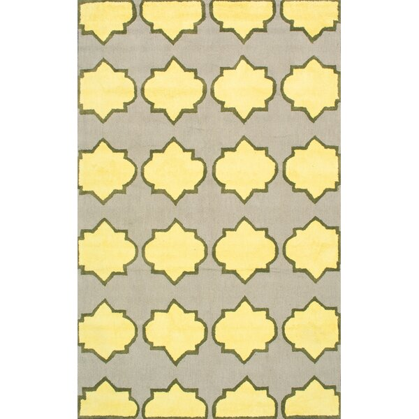 Skarner Hand-Hooked Wool/Cotton Yellow/Gray Area Rug by nuLOOM