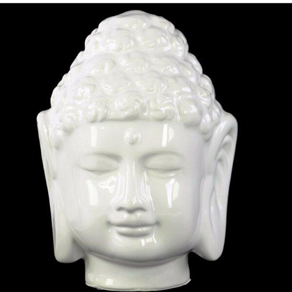Greenock Porcelain Buddha Head with Beaded Ushnisha Bust by World Menagerie