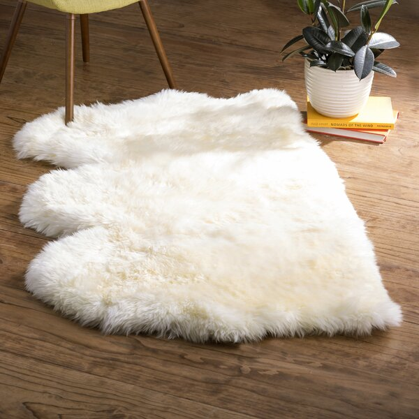 Allison Hand-Woven Faux Sheepskin White Area Rug by Langley Street