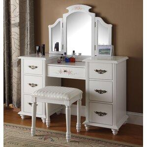 corner vanity makeup table. Makeup Vanity Set with Mirror Corner Table  Wayfair