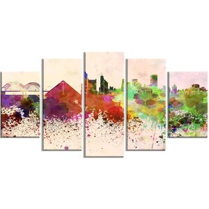 'Memphis Skyline' 5 Piece Wall Art on Wrapped Canvas Set by Design Art