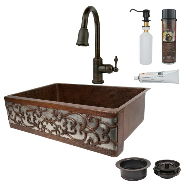 33 L x 22 W Single Bowl Apron Kitchen Sink with Faucet by Premier Copper Products