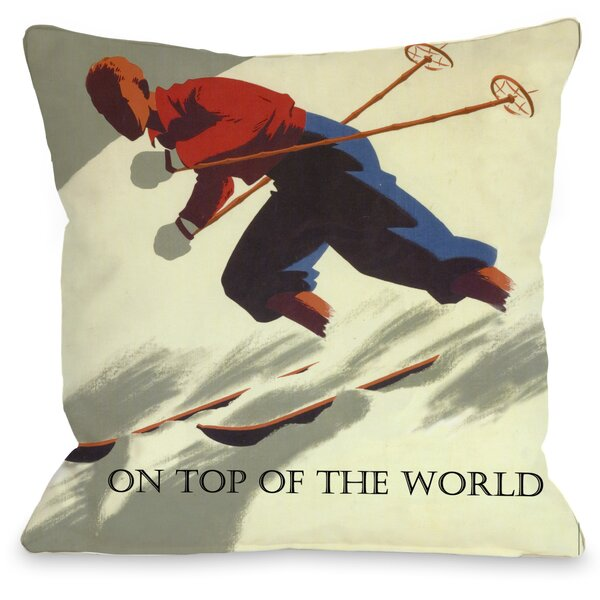 On Top of The World Vintage Ski Throw Pillow by One Bella Casa