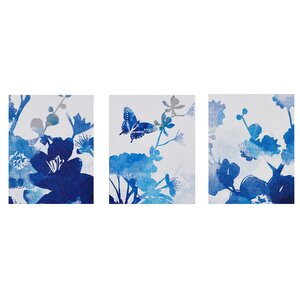 Cobalt Garden 3 Piece Graphic Art on Wrapped Canvas Set by August Grove