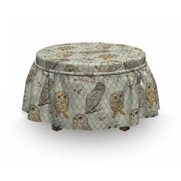 Owl Sketch Cat Looking Birds 2 Piece Box Cushion Ottoman Slipcover Set By East Urban Home