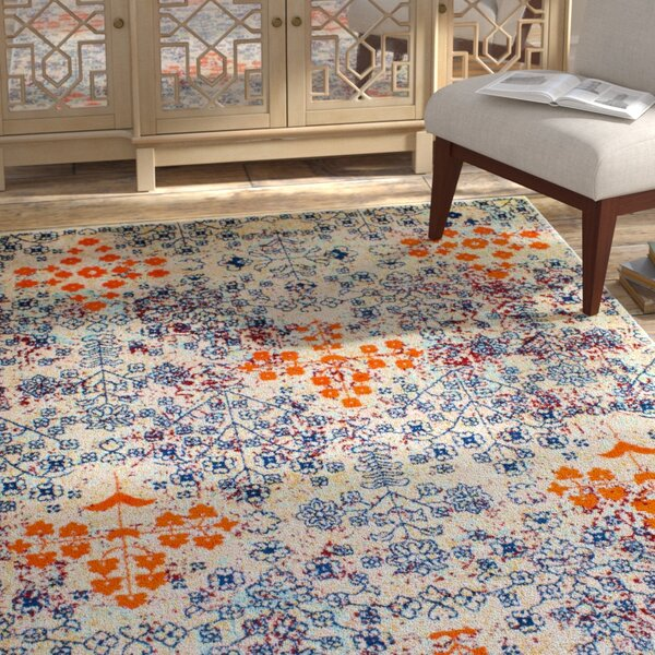 Benoit Distressed Ivory/Orange Area Rug by Bungalow Rose