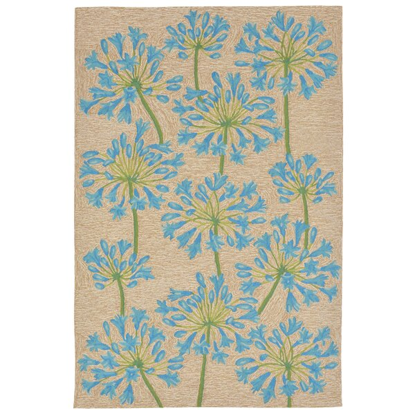 Dazey Lily Hand-Tufted Beige/Blue Indoor/Outdoor Area Rug by August Grove