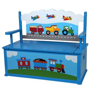 Deals Olive Trains, Planes, Trucks Kids Bench with Storage By Olive Kids