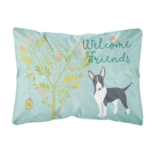 Seeber Welcome Friends Bull Terrier Indoor/Outdoor Throw Pillow by Winston Porter