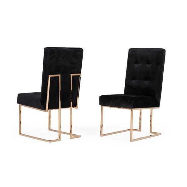 Frisina Tufted Velvet Upholstered Side Chair (Set of 2) by Everly Quinn Everly Quinn