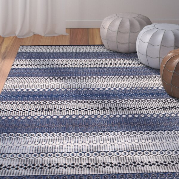 Avaline Hand-Woven Cotton Blue/White Area Rug by Bungalow Rose