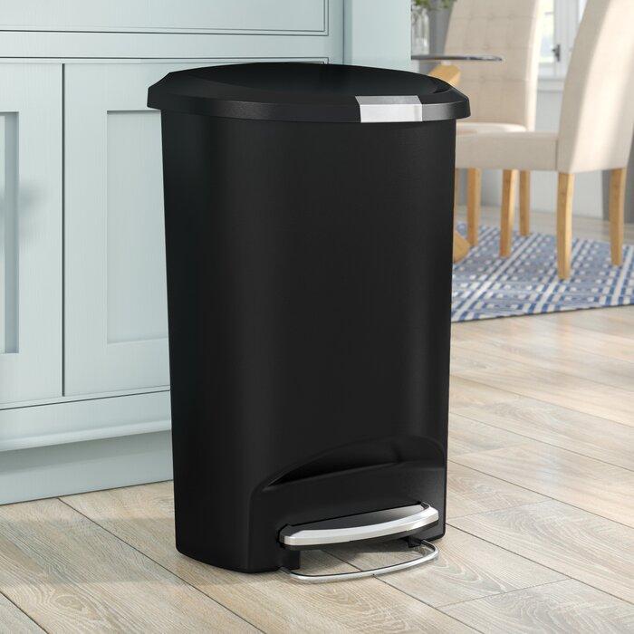13 Gallon Semi-Round Step Trash Can, Plastic