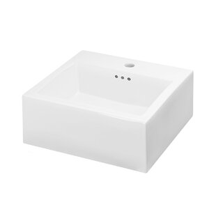 Check Prices Brilon Ceramic Rectangular Vessel Bathroom Sink with Overflow By Maykke