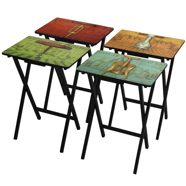 Bolick 4 Piece Vineyards of France TV Tray Set with Stand by Fleur De Lis Living