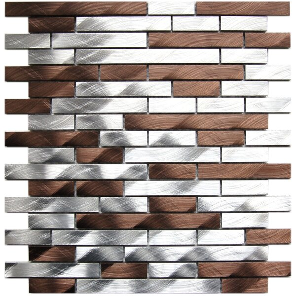 Random Sized Aluminum Mosaic Tile in Silver/Chocolate by Eden Mosaic Tile