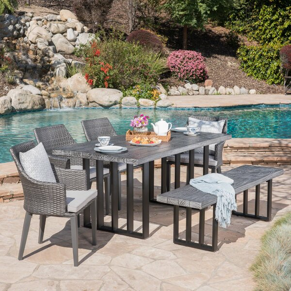Yokley Outdoor 6 Piece Dining Set with Cushions by Rosecliff Heights